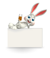 cute easter bunny with sign and beer glass