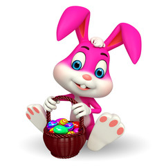 cute easter bunny with colorfull eggs basket