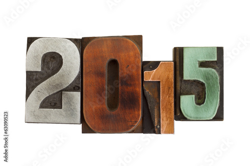 year 2015 written in vintage printing blocks