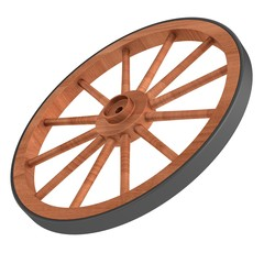 realistic 3d render of old wheel