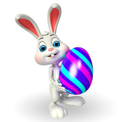 Cute Easter Bunny with big egg