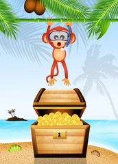 monkey with treasure chest