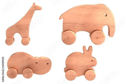 realistic 3d render of wooden toys