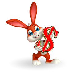 Cute Easter Bunny with dollar sign