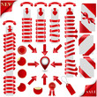 Red Ribbons Set and marker with 3d arrow, Isolated. Vector