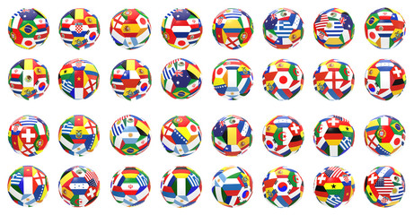 3D render of 32 soccer football on 2014 FIFA world cup