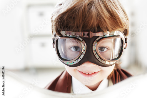 Goggles boy dreams of becoming a pilot