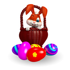 Cute Easter Bunny with  colorful eggs and basket
