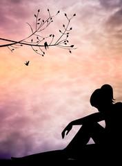 melancholic woman