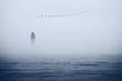 canvas print picture - misty sea