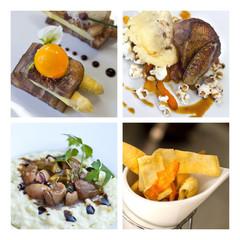 Collage de plats gastronomiques
