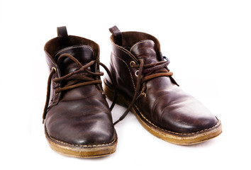 old fashioned brown boots