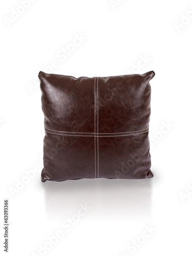 dark brown leather cushion