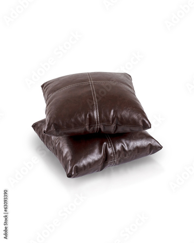 dark brown leather cushions