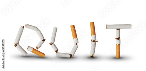 Text Quit made from broken cigarettes
