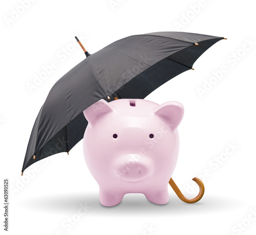 Black umbrella protect piggy bank. Isolated on white