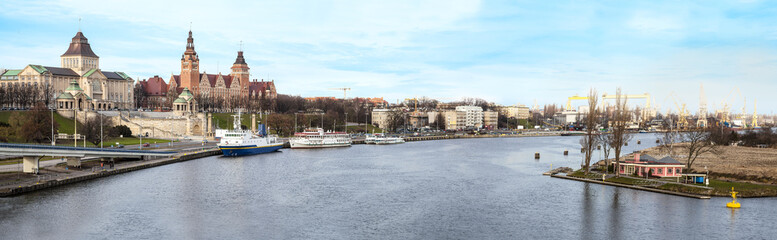 Panoramic view of Szczecin (Stettin) City, Poland.