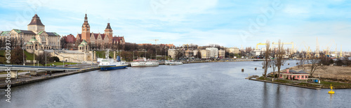 Panoramic view of Szczecin (Stettin) City, Poland.