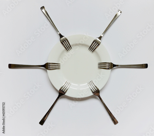 empty plate and forks
