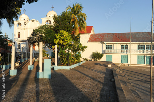 The colonial square and church at Flores