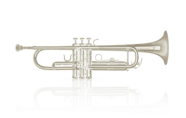 Silver trumpet instrument on white background.