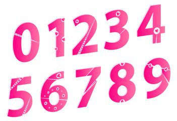 3D Valentines Day Love Alphabet Numbers Set Concept Vector