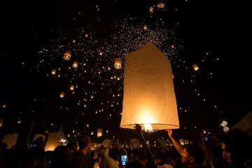 Launching floating lanterns