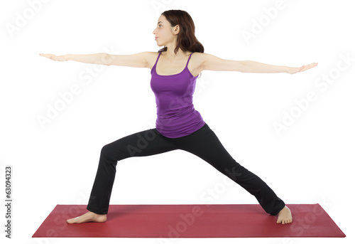 Woman in Warrior II Pose during Yoga