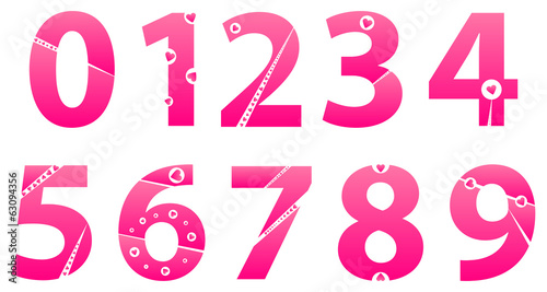 Valentines Day Love Alphabet Numbers Set Concept Vector