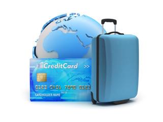 Baggage, credit card and earth globe
