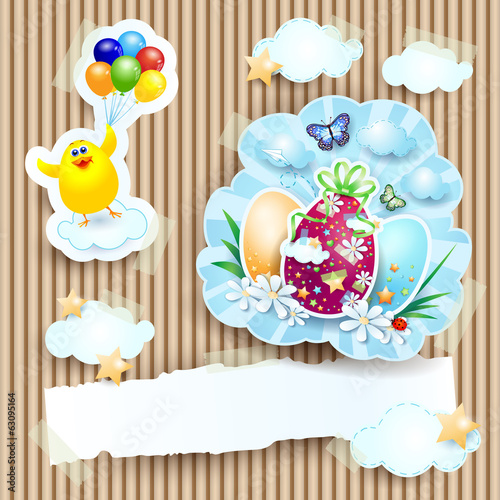 Easter illustration with chick and eggs on cardboard background