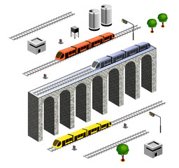 A set of  elements isometric Railroad with train