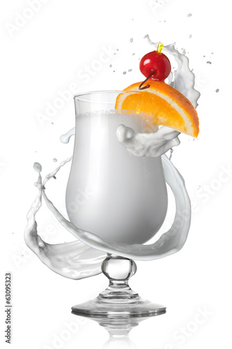 virgin pina colada white cocktail with milk splash isolated