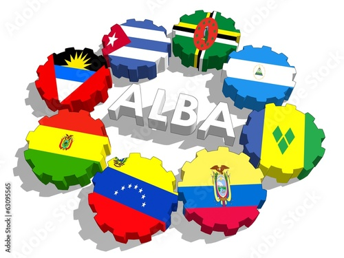 Bolivarian Alliance for the Peoples of  ocontries flags on gears