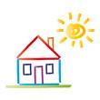 Buntes Haus mit Satteldach - Sonne - vektor abstrakt