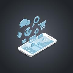 Smartphone social media development vector icons