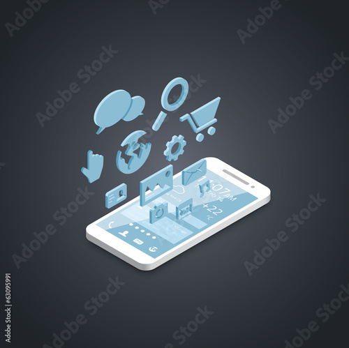Smartphone social media development vector icons