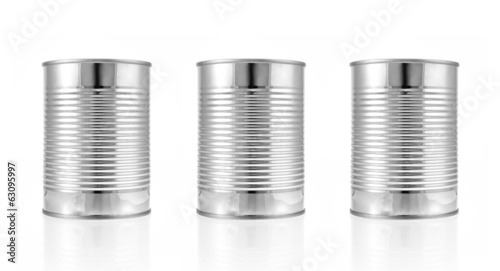 Metal can for preserved food on white background.