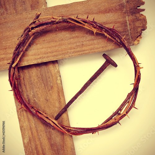 the Jesus Christ crown of thorns and the Holy Cross