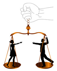 illustrazione simbolica di coppia che litiga