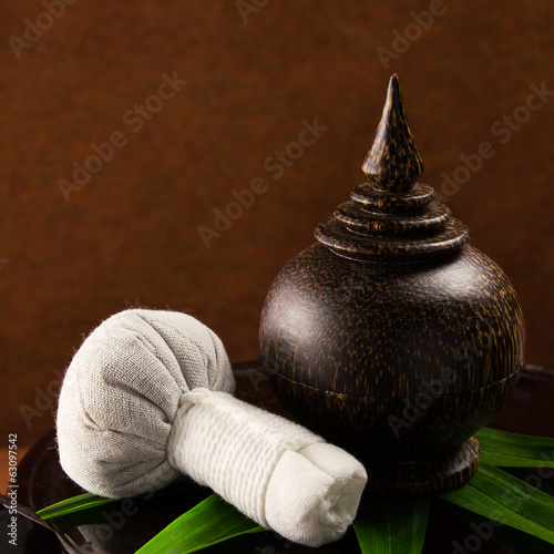 Spa herbal compressing ball with wooden casket.