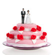 Black couple on top of wedding cake