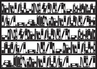 Books arranged on shelves illustrated on white