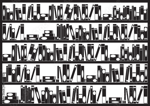 Books arranged on shelves illustrated on white