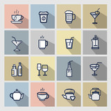vector beverages icons set