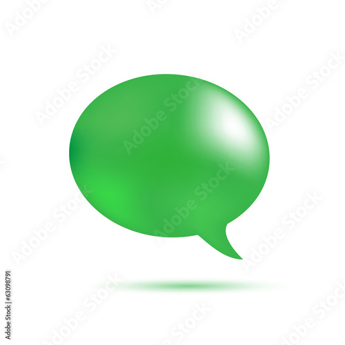 Green word speech on white