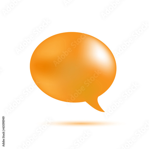 Orange word speech on white