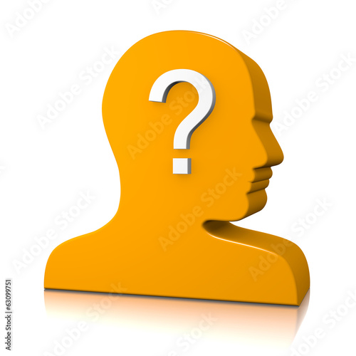 Man Head Profile with Question Mark