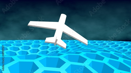 airplane icon above honeycomb landscape