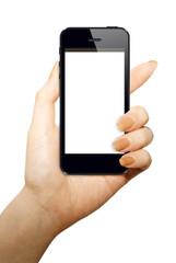 スマートフォンと女性の手